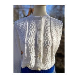 Vintage 70s White Knit Cardigan Sweater Diament